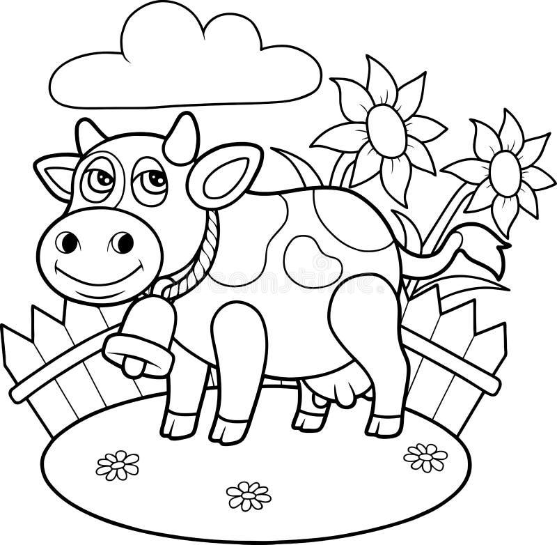 Krowy pasanie na gospodarstwie rolnym royalty ilustracja