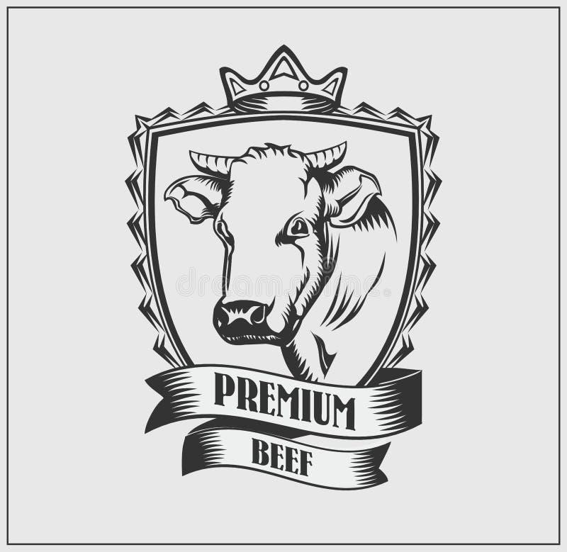 Krowy premii kierownicza etykietka Logo masarka 10 tło projekta eps techniki wektor ilustracji