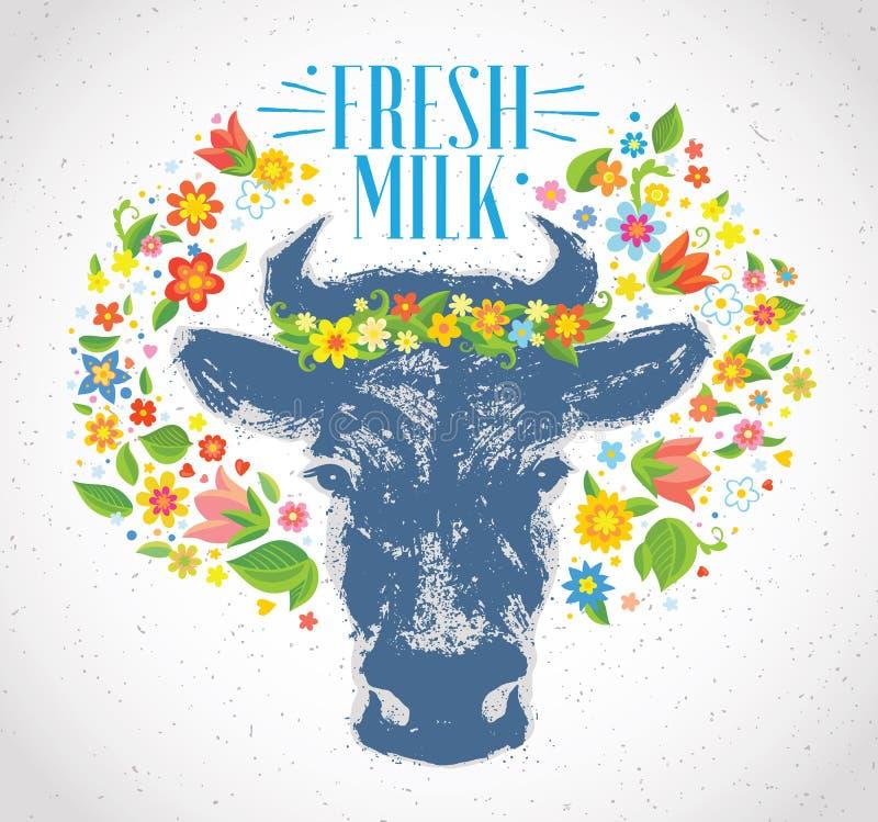 Krowy przewodzą wewnątrz otaczają wiankiem kwiaty ilustracja wektor