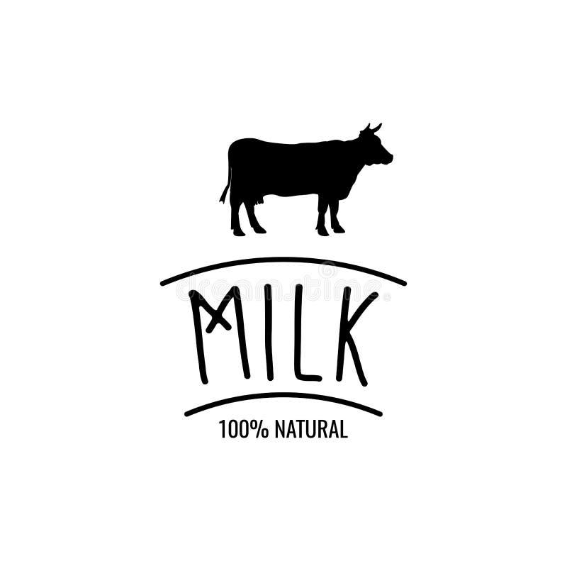 Krowy sylwetki etykietka Dojna odznaka 100 Naturalna również zwrócić corel ilustracji wektora royalty ilustracja