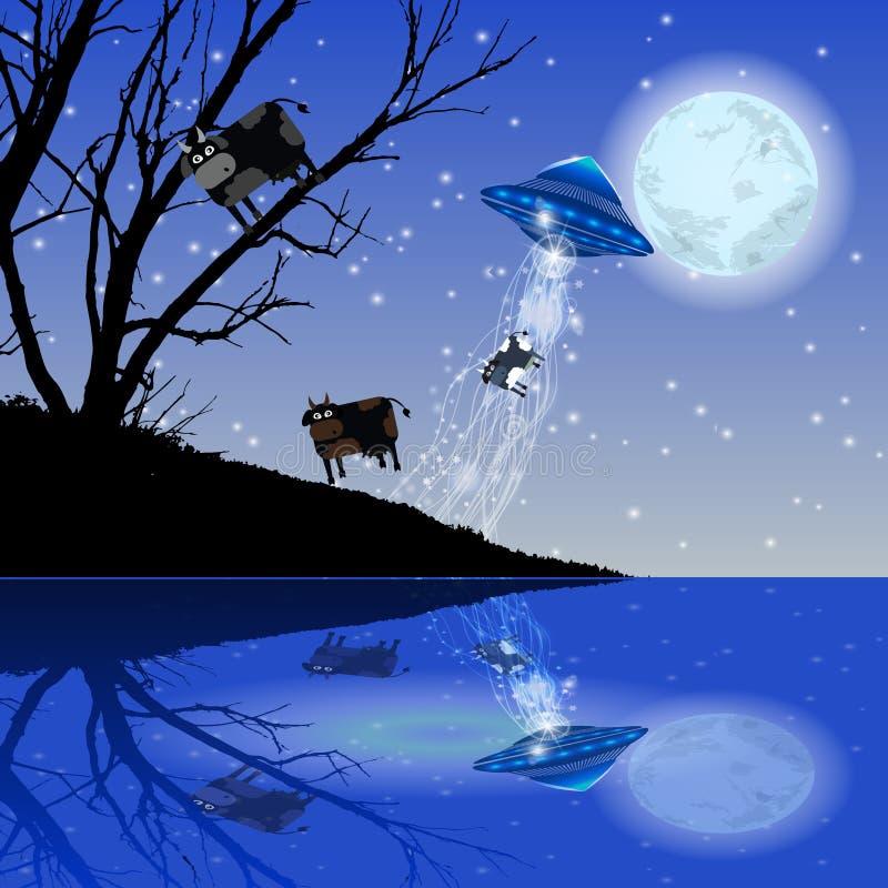 Krowy uprowadzenia UFO nocy księżyc ilustracja ilustracja wektor
