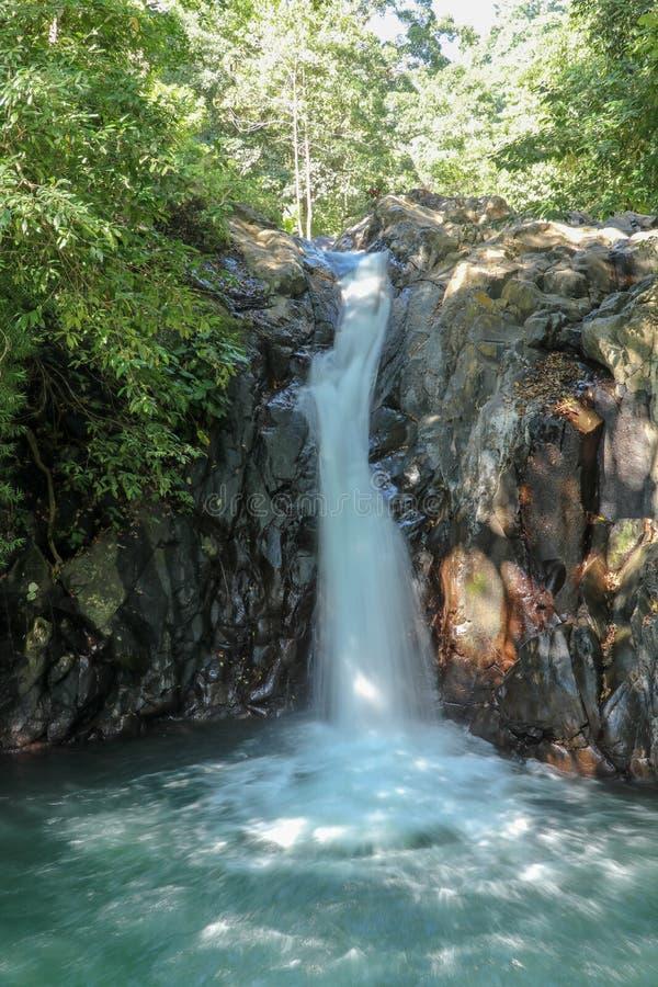 Kroya siklawa w Sambangan terenie górskim na Bali wyspie Baseny z kryształem - jasna woda pod skalistą ścianą zdjęcie royalty free