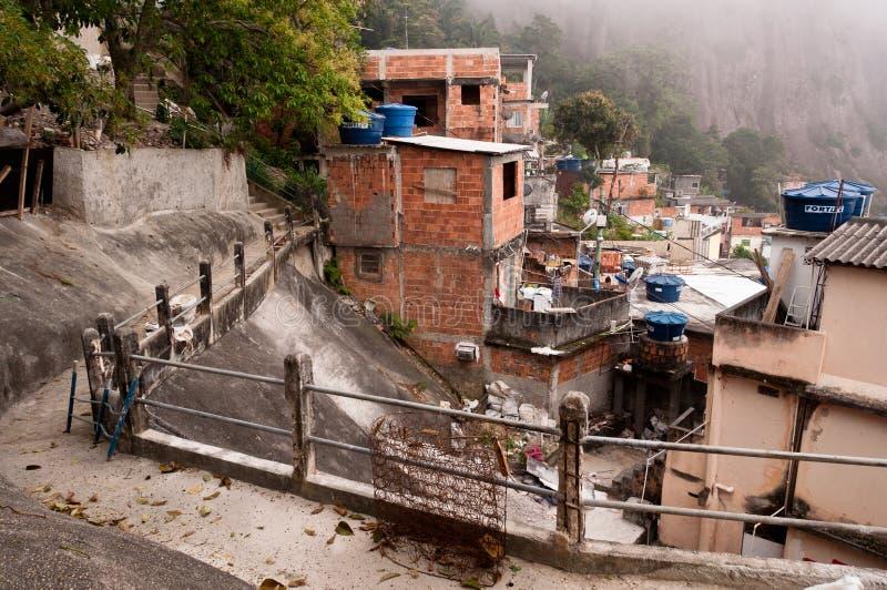 Kruche mieszkaniowe budowy favela Vidigal w Rio De Janeiro fotografia stock