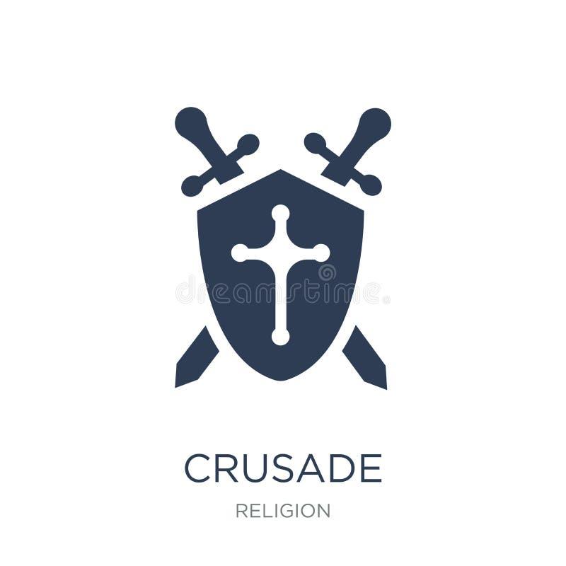 Krucjatowa ikona Modna płaska wektor krucjaty ikona na białym backgroun royalty ilustracja