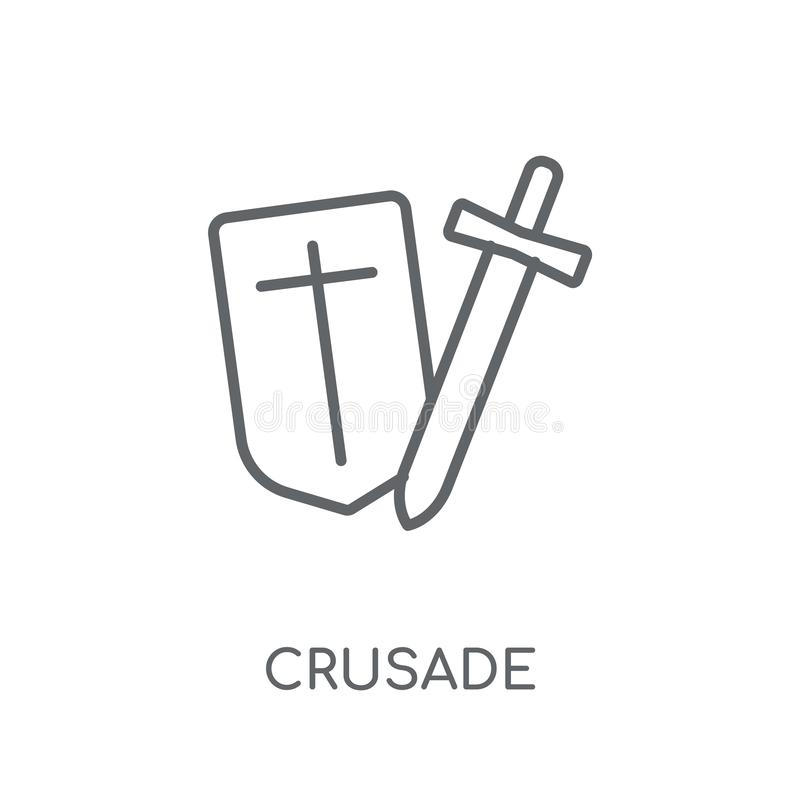 Krucjatowa liniowa ikona Nowożytny kontur krucjaty logo pojęcie na whit ilustracji