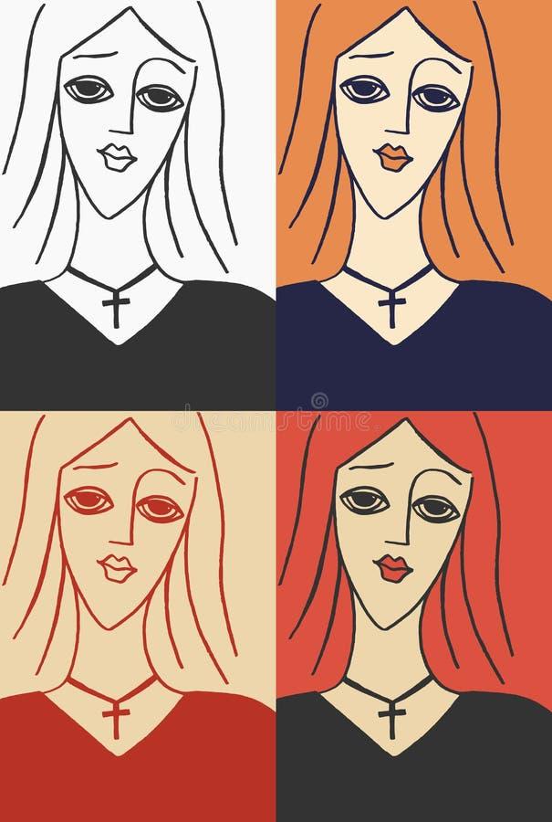 Krucyfiks dziewczyna ilustracja wektor