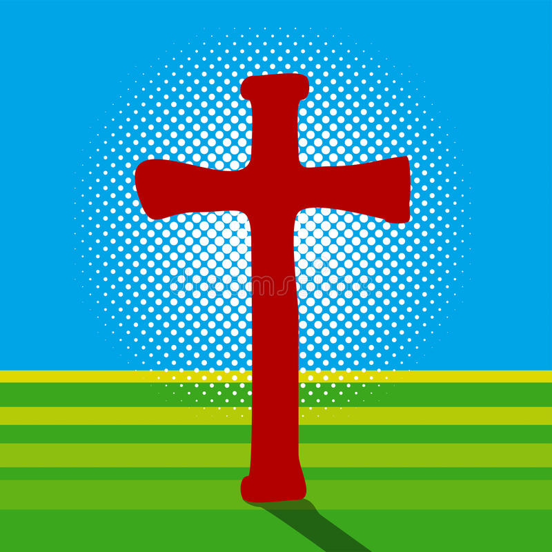 Krucyfiks i światło ilustracja wektor