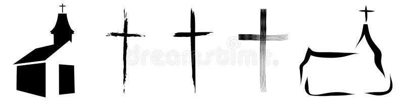 krucyfiks i kościół royalty ilustracja