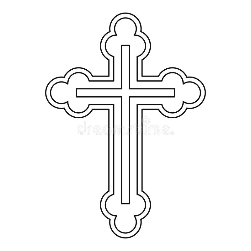Krucyfiks ikona w konturu stylu ilustracja wektor