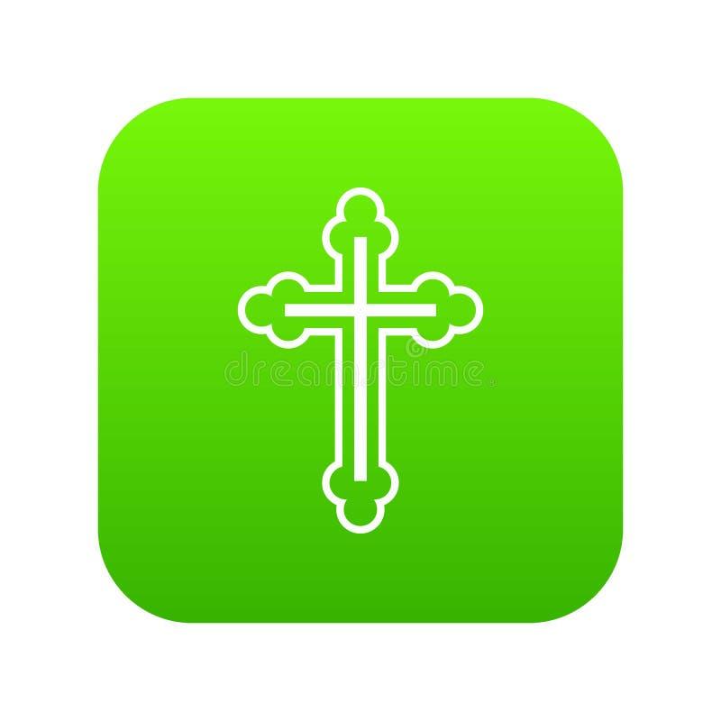 Krucyfiks ikony cyfrowa zieleń ilustracja wektor