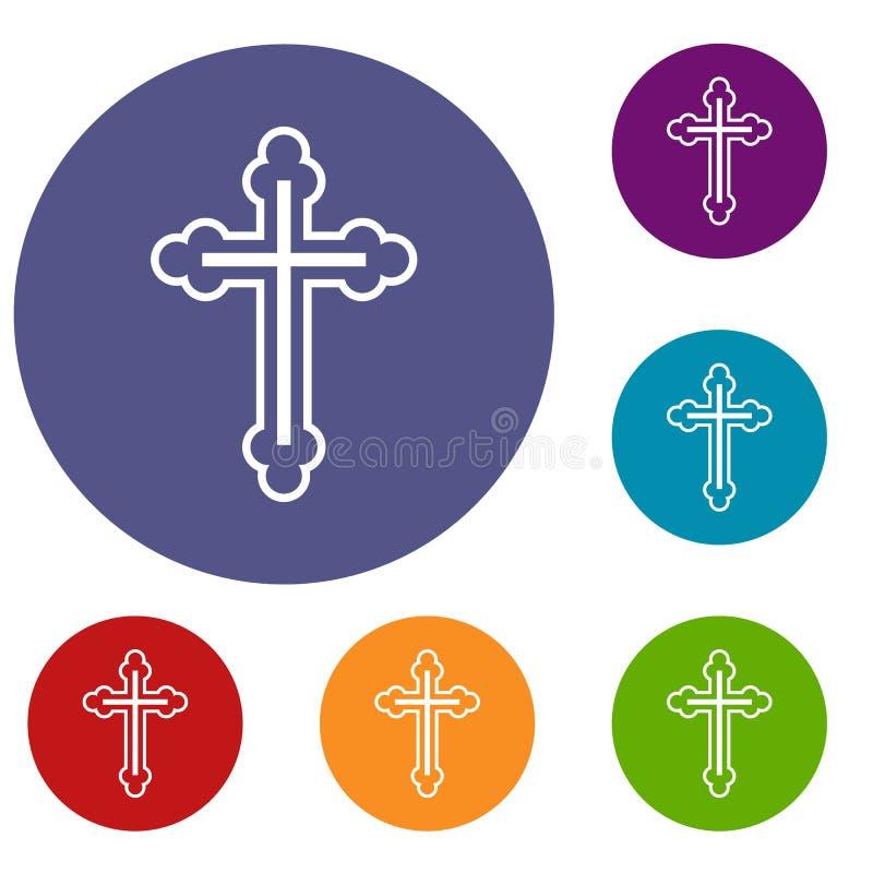 Krucyfiks ikony ustawiać ilustracja wektor