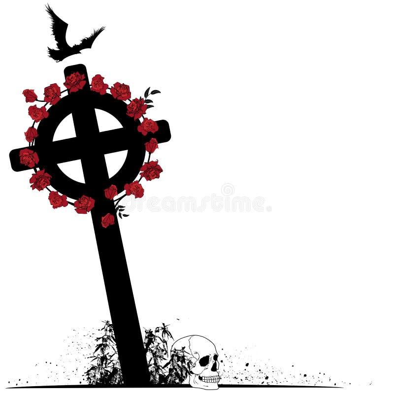 Krucyfiks, kruk, scull i róże, ilustracja wektor