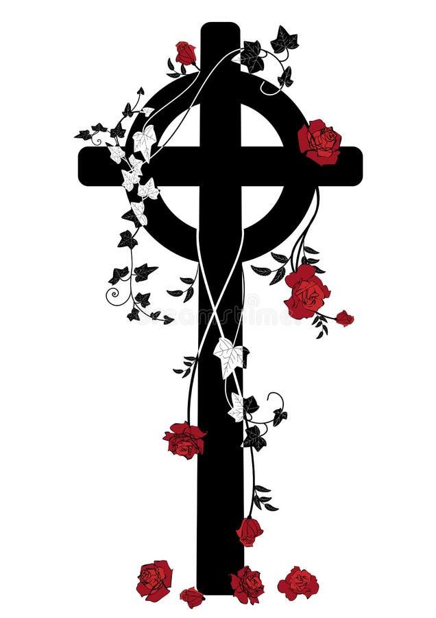 Krucyfiks, róże i bluszcz, royalty ilustracja