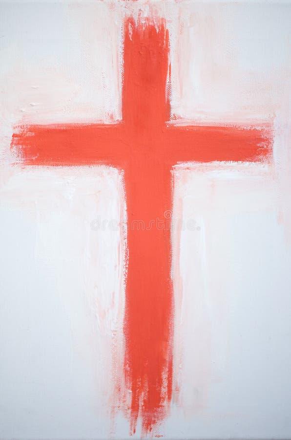 Krucyfiks ręka malująca na kanwie ilustracji