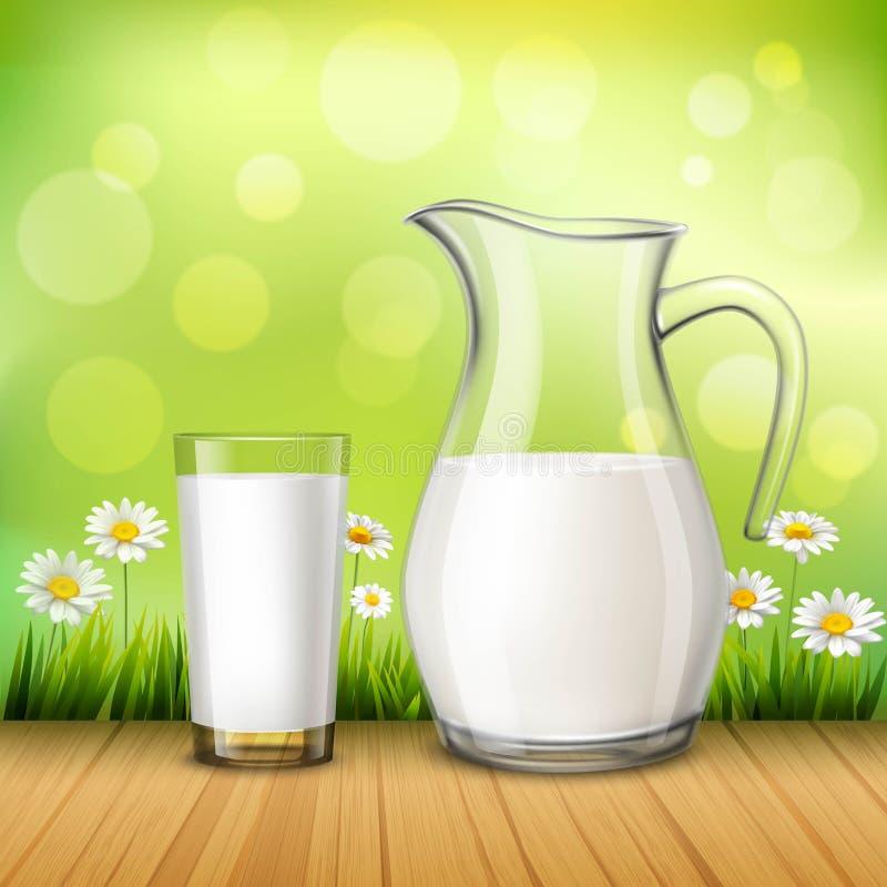 Krug und Glas Milch lizenzfreie abbildung