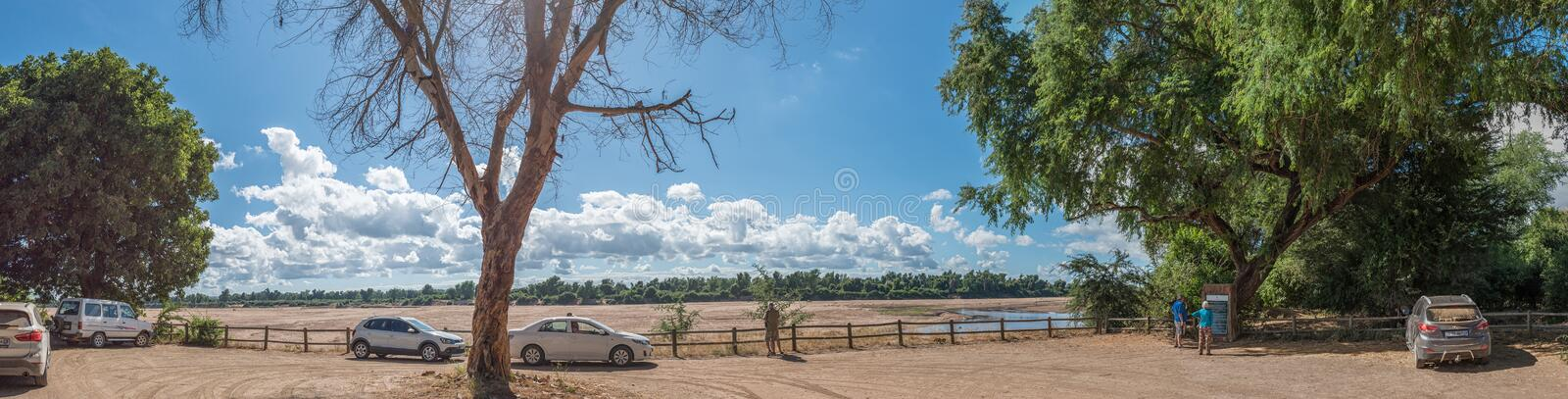 Crooks Corner with Zimbabwe visible accross the Limpopo River stock photography