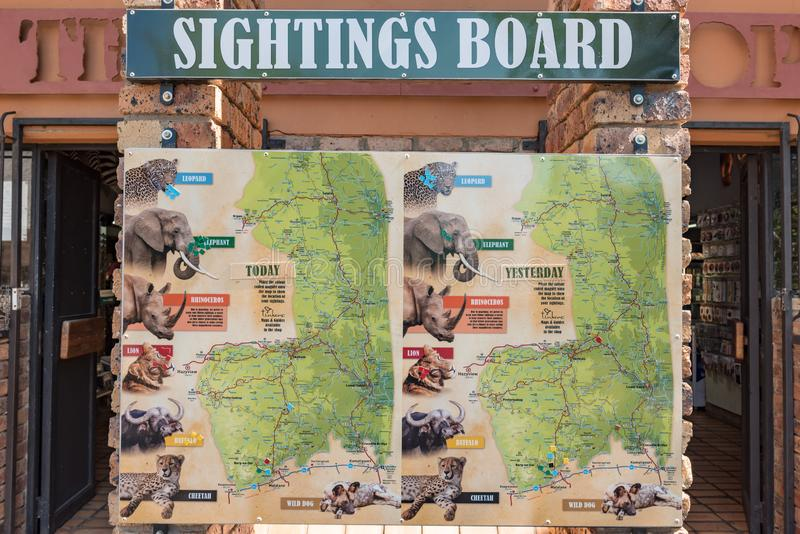 View of typical sightings board in Kruger National Park. KRUGER NATIONAL PARK, SOUTH AFRICA - MAY 3, 2019: View of a typical sightings board in the Kruger royalty free stock image