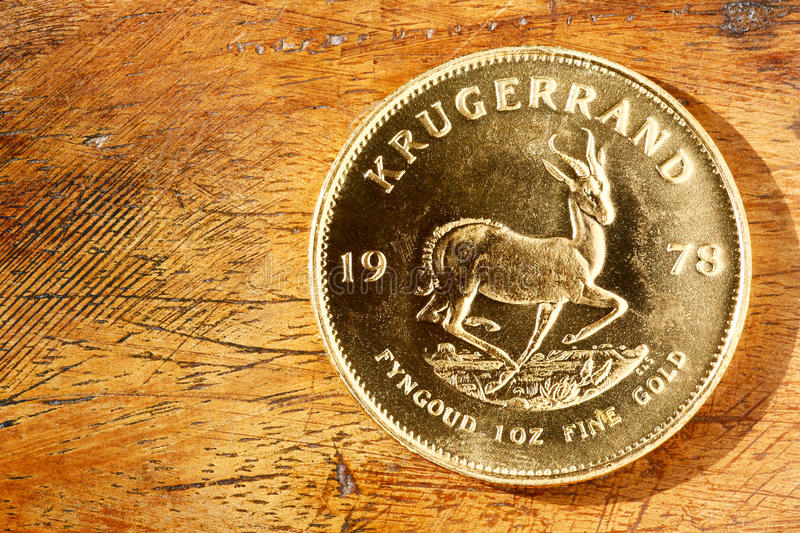 Krugerrand gold coin. Krugerrand: South African gold coin stock images