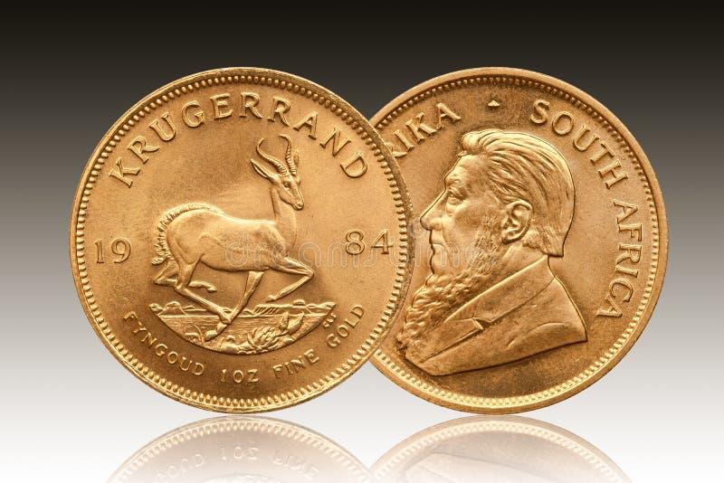 Krugerrand 1 uns guld- mynt Sydafrika 1984 royaltyfria bilder