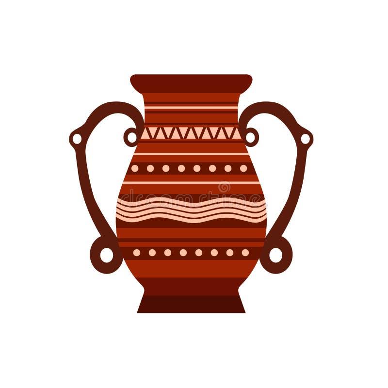 Kruglehmvektortonwarentopfvasenillustration keramische pither Milch Alte lokalisierte alte Ikone des Glases stock abbildung