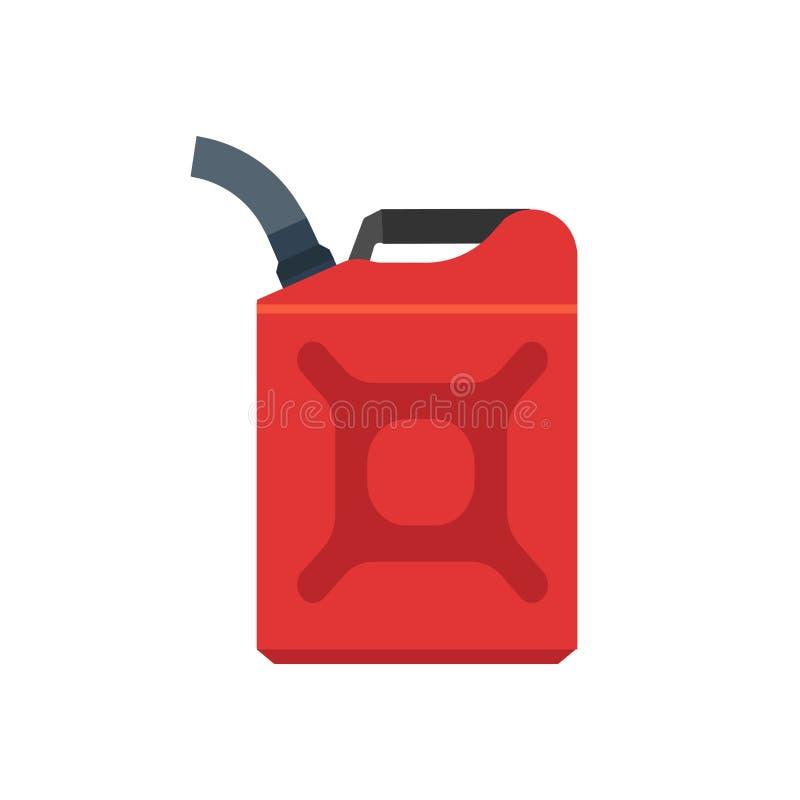 Krugvektorikone der flachen Kappe des griffs des roten Kanisters des Benzinkanisters Diesel Erzeugnismaschinen-Gallonenbrennstoff vektor abbildung