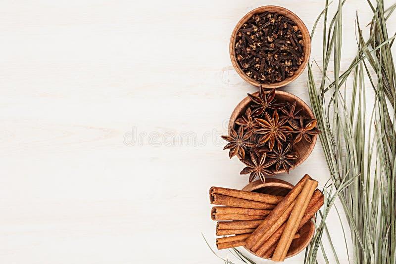 Kruiden - anijszaad, kaneel, kruidnagels en kruiden in houten kommen op een houten witte achtergrond stock foto