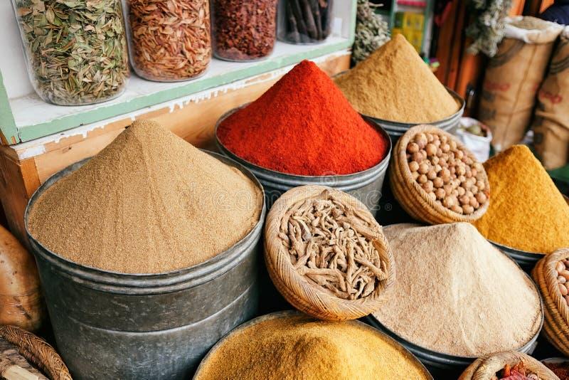 Kruiden in de markt van Marrakech, Marokko royalty-vrije stock afbeelding
