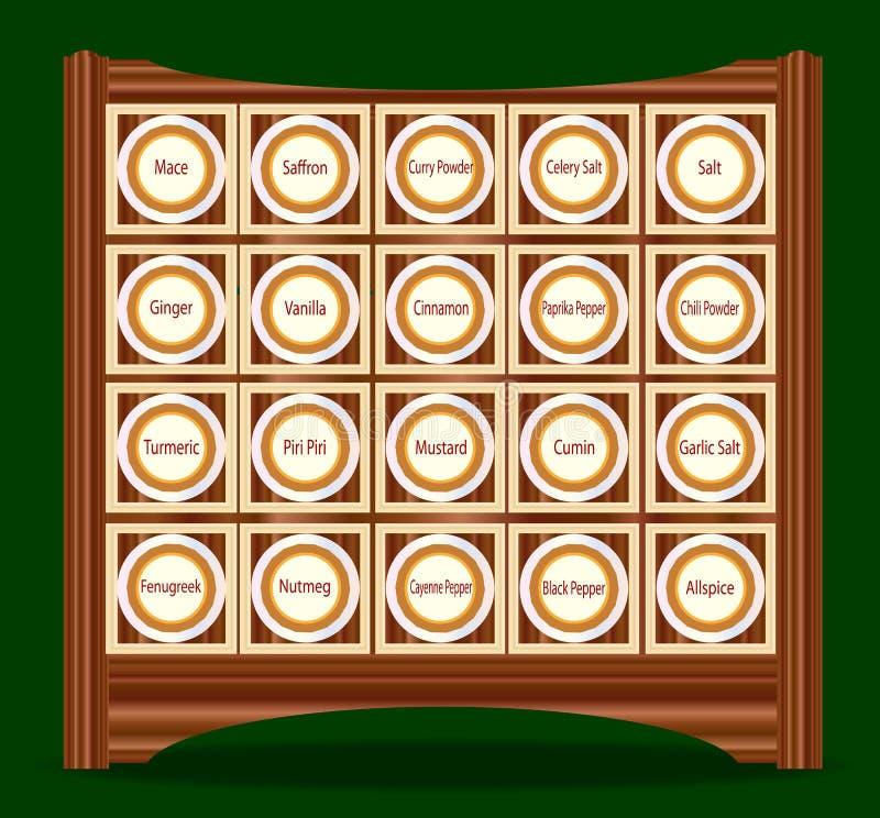 20 kruiden in een Rek vector illustratie