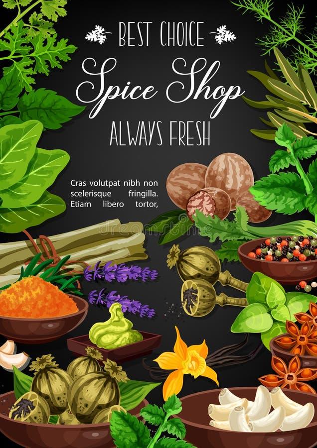 Kruiden en kruiden, culinair kruidenkruiden stock illustratie