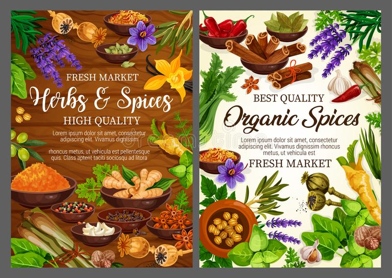 Kruiden en kruiden, de kokende winkel van de kruidenkruidenierswinkel royalty-vrije illustratie
