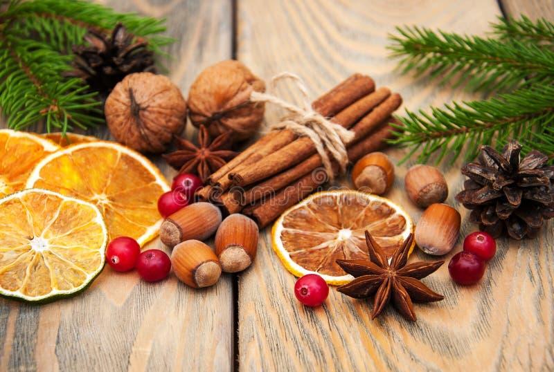 Kruiden en droge sinaasappelen stock afbeeldingen