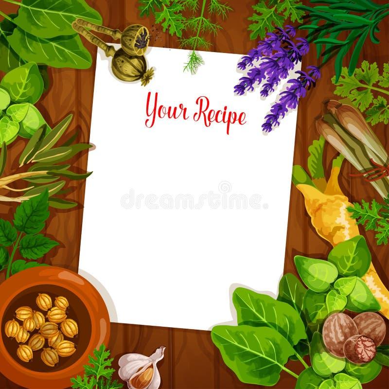 Kruiden en kruiden met lege receptenpagina vector illustratie