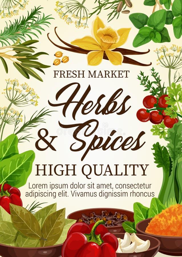 Kruiden en kruidenkruiden, landbouwbedrijfmarkt stock illustratie