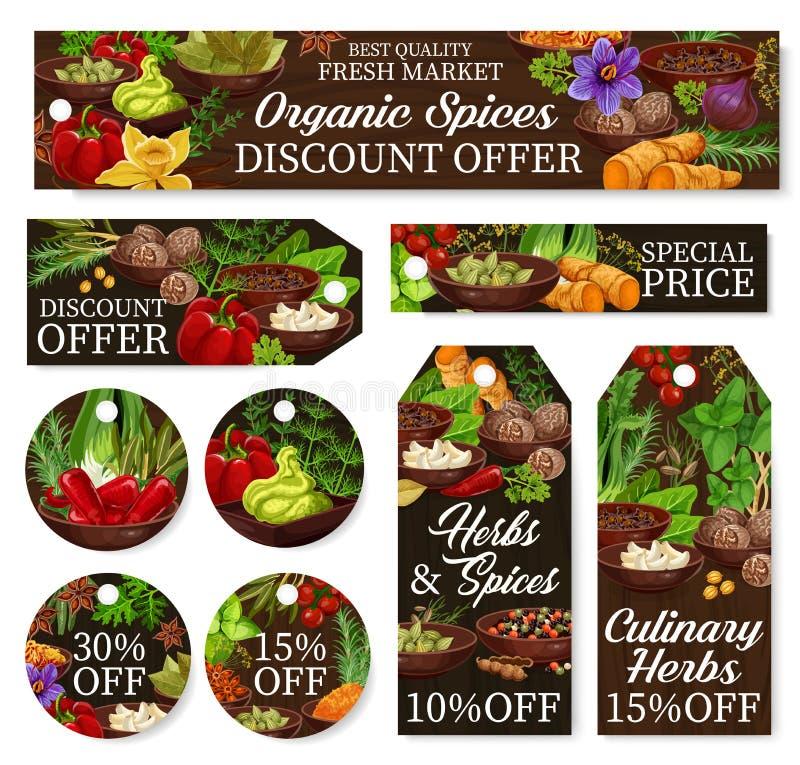 Kruiden en kruidenlandbouwbedrijfopslag, de markeringen van de winkelkorting stock illustratie