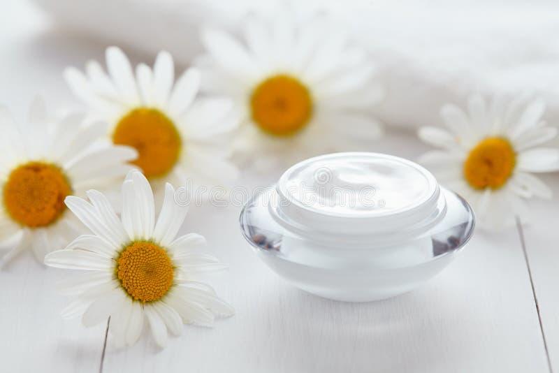 Kruiden kosmetische antirimpelroom met de natuurlijke vochtinbrengende crème van de kamillevitamine stock foto