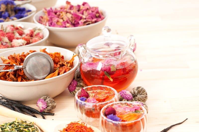Kruiden natuurlijke bloementhee i stock foto's