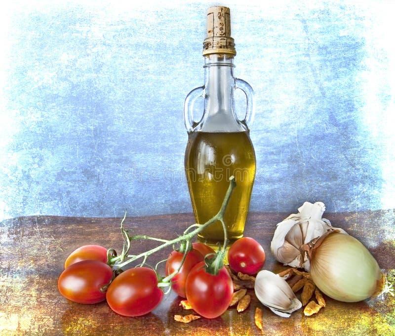 Kruiden, olijfolie, kersentomaten royalty-vrije illustratie