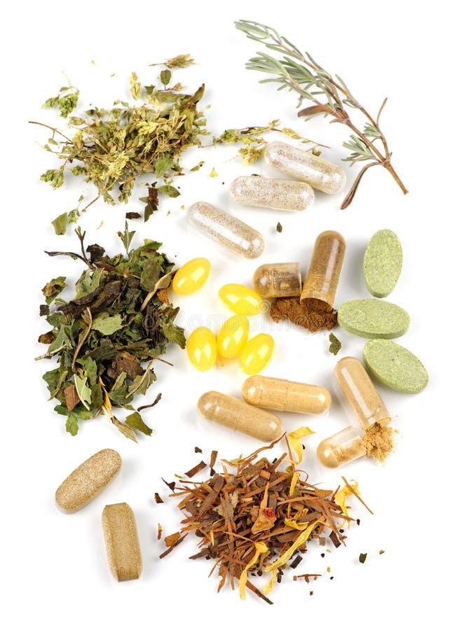 Kruiden supplementpillen stock foto's