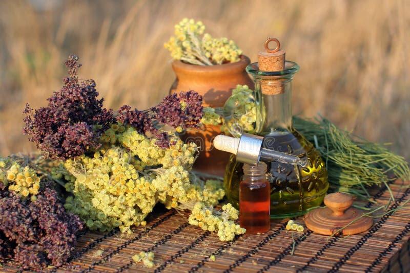 Kruiden, tint en essentiële olie stock fotografie