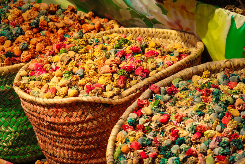 Kruiden voor verkoop in Souk marrakech marokko stock fotografie
