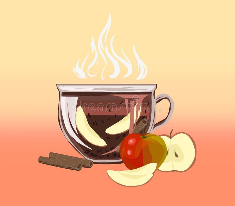 Kruiden zwarte bladthee met kaneel en appelen Dri van het vitaminedieet vector illustratie