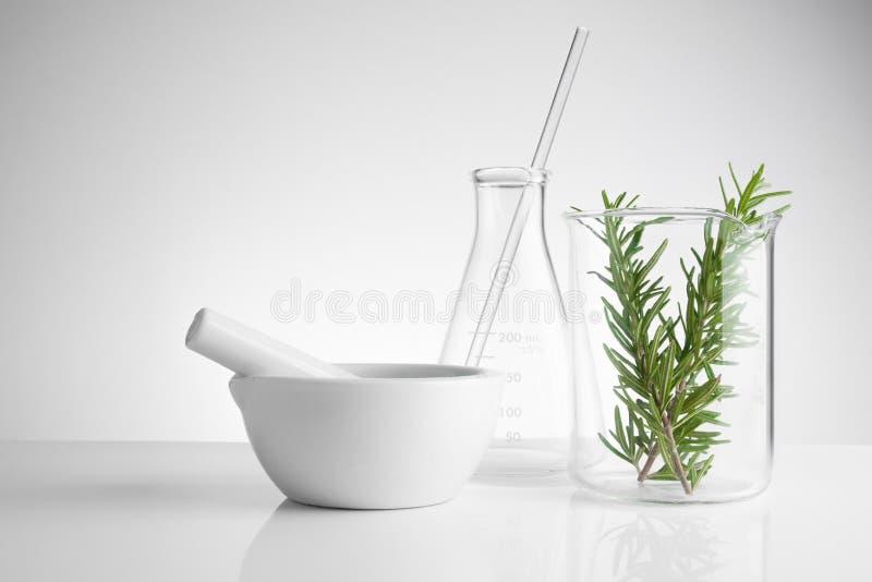 kruidengeneeskunde natuurlijk organisch en wetenschappelijk glaswerk royalty-vrije stock afbeeldingen