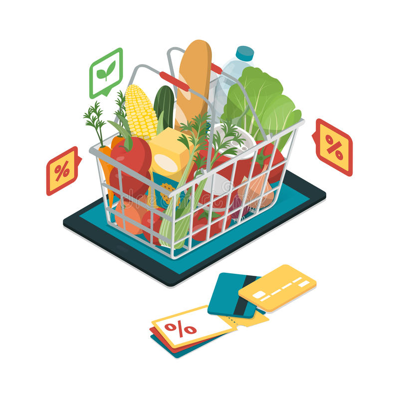 Kruidenierswinkel die online winkelen vector illustratie