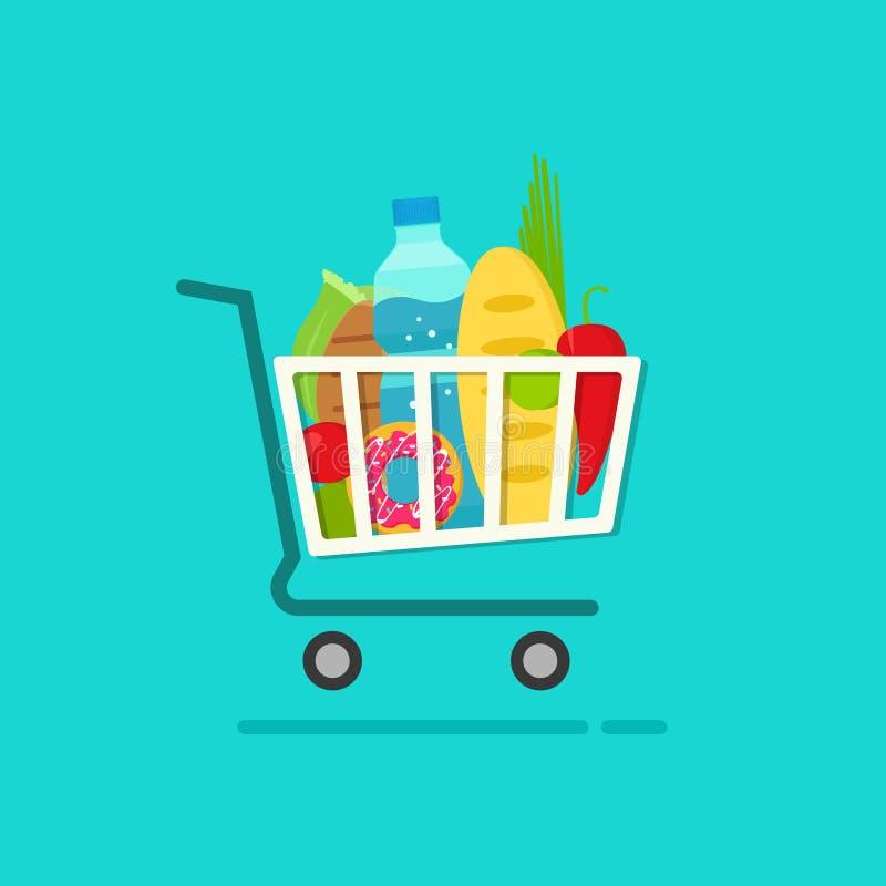 Kruidenierswinkelboodschappenwagentje met hoogtepunt van verse producten vectorillustratie vector illustratie