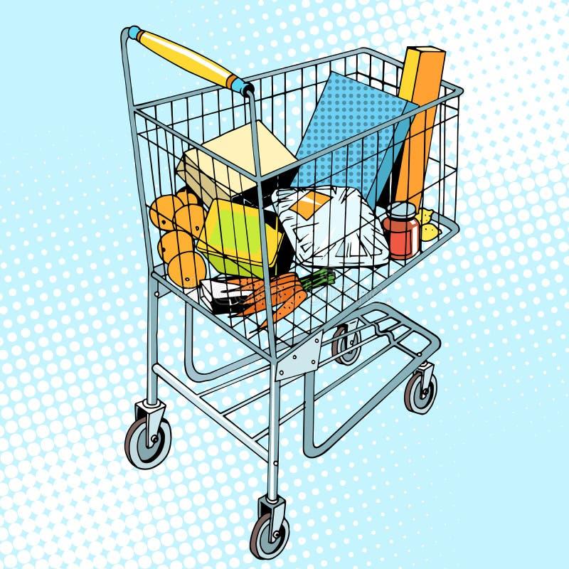 Kruidenierswinkelkarretje met voedsel vector illustratie