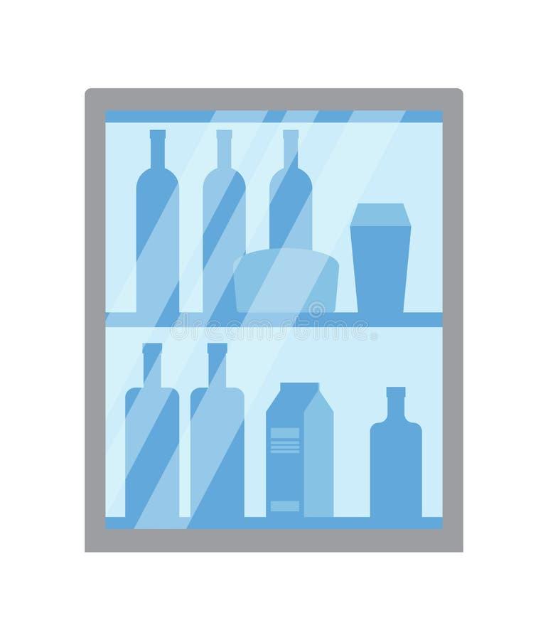 Kruidenierswinkelopslag, Afdeling met Vloeistoffen en Dranken stock illustratie