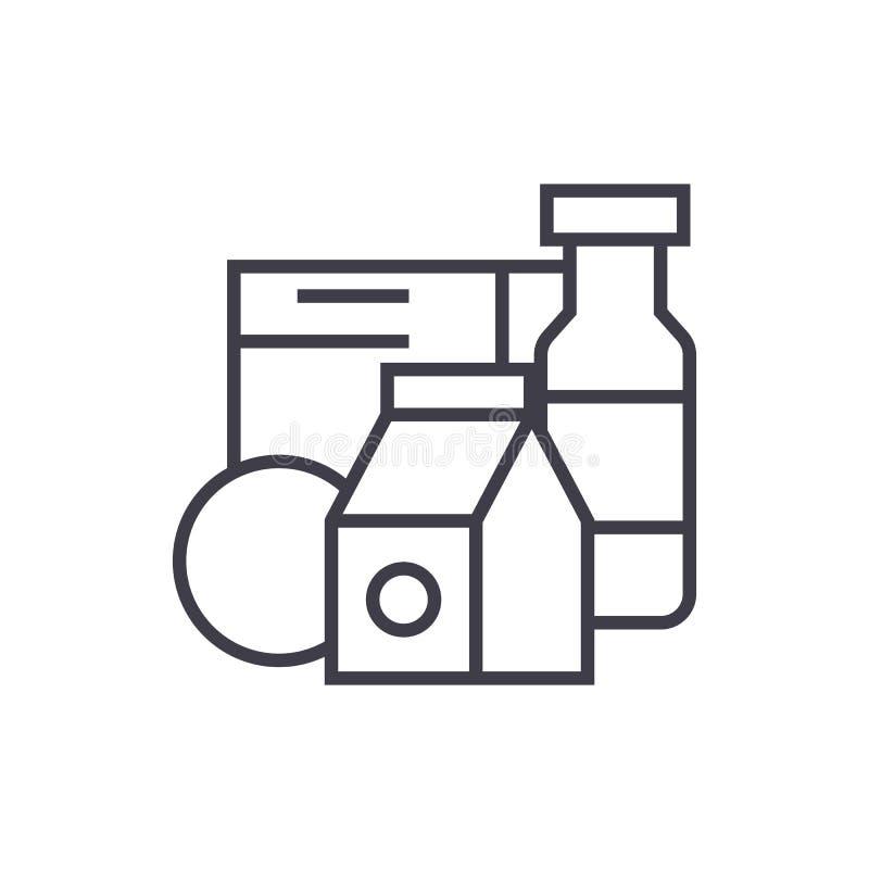Kruidenierswinkelproducten, melk, pictogram van de graangewassen het vectorlijn, teken, illustratie op achtergrond, editable slag vector illustratie