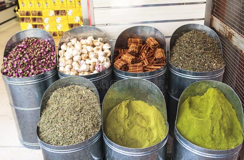 Kruidenmarkt van Marrakech, Marokko royalty-vrije stock foto