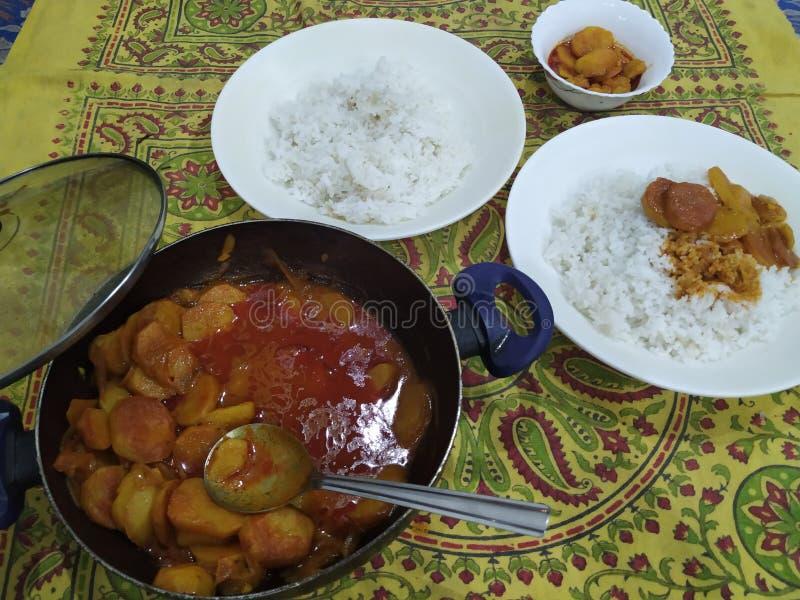 Kruidig aardappels en rijstmengsel royalty-vrije stock foto