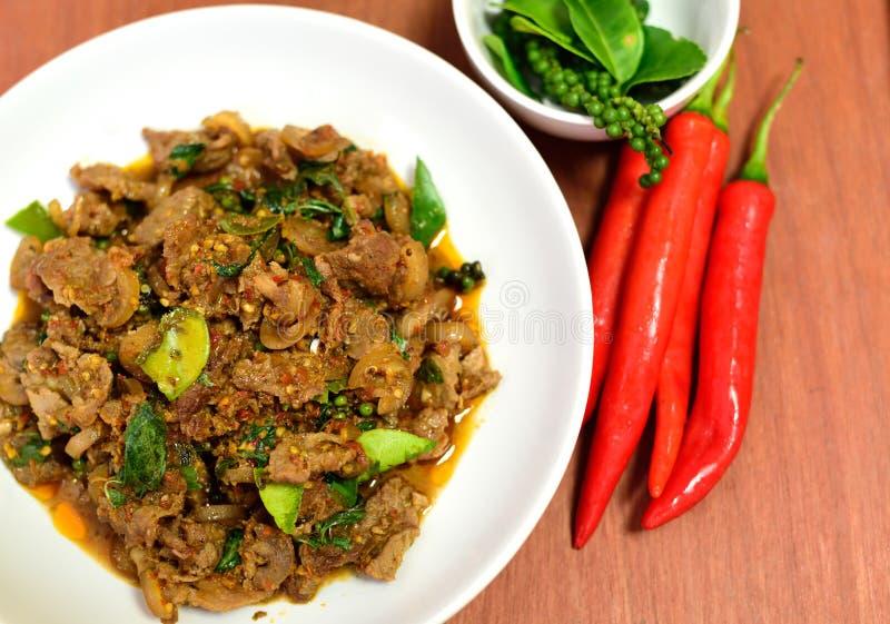 Kruidig Gebraden beer Thais voedsel royalty-vrije stock foto